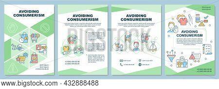 Avoiding Consumerism Brochure Template. Stop Excessive Consumption. Flyer, Booklet, Leaflet Print, C