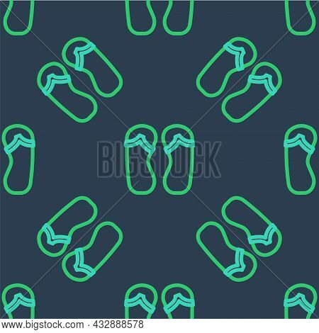 Line Flip Flops Icon Isolated Seamless Pattern On Blue Background. Beach Slippers Sign. Vector