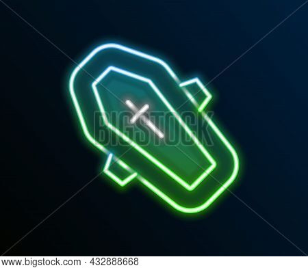 Glowing Neon Line Coffin With Christian Cross Icon Isolated On Black Background. Happy Halloween Par