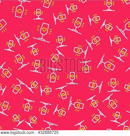 Line Wine Glass Icon Isolated Seamless Pattern On Red Background. Wineglass Sign. Favorite Wine. Vec
