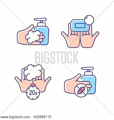 Hand Hygiene Rgb Color Icons Set. Wash With Brick Soap. Antimicrobial Skin Cleanser. Scrub Hands For