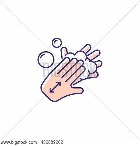 Lathering Back Of Hands Rgb Color Icon. Rubbing Hands Together With Soap. Proper Handwashing Step. C
