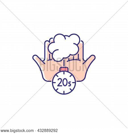 Scrub Hands For Twenty Seconds Rgb Color Icon. Clearing Out Germs. Rubbing Hands Under Warm Running