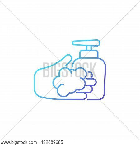 Washing With Liquid Soap Gradient Linear Vector Icon. Minimizing Germs Transfer Risk. Antimicrobial