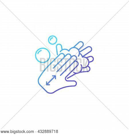Lathering Back Of Hands Gradient Linear Vector Icon. Rubbing Hands Together With Soap. Proper Handwa