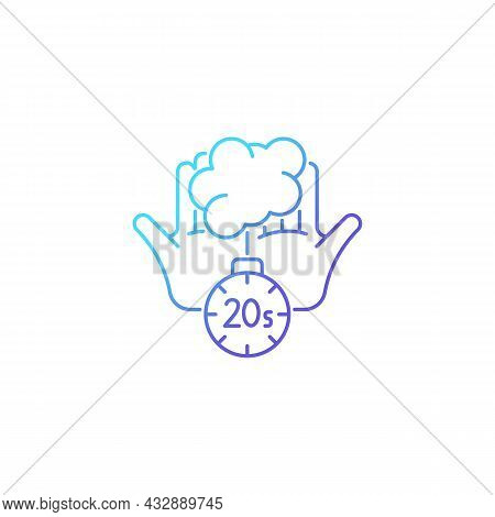 Scrub Hands For Twenty Seconds Gradient Linear Vector Icon. Clearing Out Germs. Rubbing Hands Under