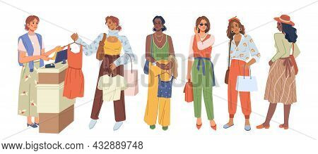 Queue At Checkout In Clothing Store, Woman At Cash Desk Standing In Line Isolated Flat Cartoon Chara