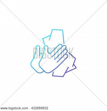 Dry Hands With Tissue Gradient Linear Vector Icon. Wiping Off Dirt And Germs From Palms. Use Antibac