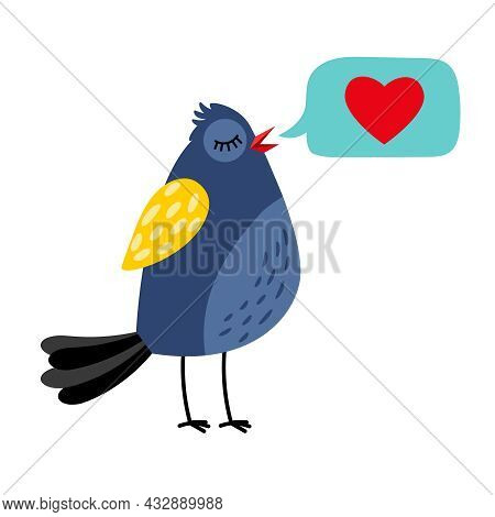 Little Bird Sings The Song About Love Vector