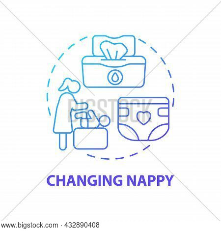 Changing Nappy Blue Gradient Concept Icon. Child Nursing Abstract Idea Thin Line Illustration. Baby