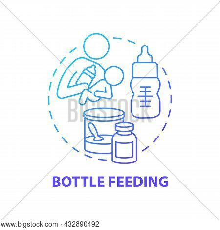 Bottle Feeding Blue Gradient Concept Icon. Feed Baby With Formula Abstract Idea Thin Line Illustrati