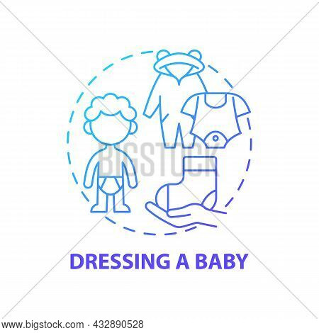 Dressing Baby Blue Gradient Concept Icon. Change Baby Clothes Abstract Idea Thin Line Illustration.