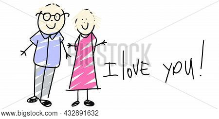 Hand Drawn Grandparents. Kids Drawing Style. Grandfather And Grandmother In Doodle