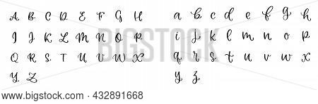 Alphabet In Lettering. Abc Font. Text Collection. Handwritten Alphabet Font. Calligraphy Set