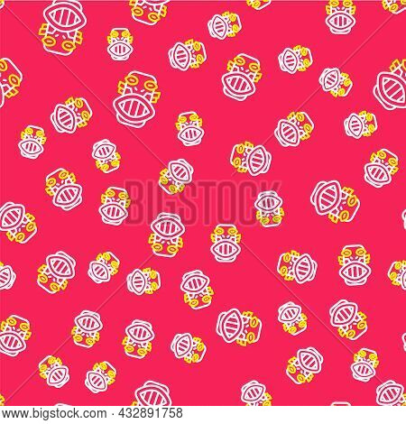 Line Mexican Mayan Or Aztec Mask Icon Isolated Seamless Pattern On Red Background. Vector