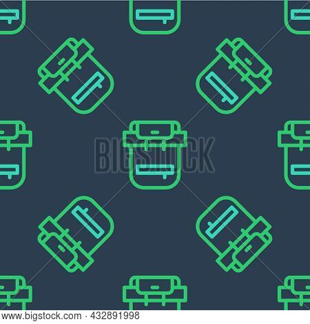 Line Hiking Backpack Icon Isolated Seamless Pattern On Blue Background. Camping And Mountain Explori