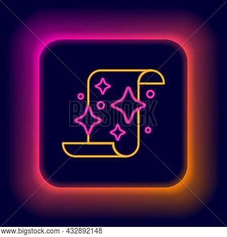 Glowing Neon Line Magic Scroll Icon Isolated On Black Background. Decree, Paper, Parchment, Scroll I