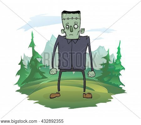 A Dead Man Standing In The Nature. A Zombie Among The Trees, Mountain Landscape In The Background. H