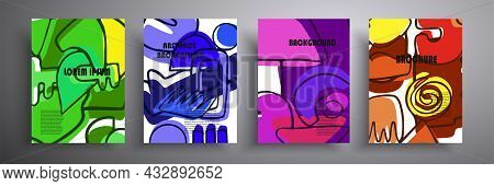 Vector Illustration, Modern Art Graphics. Abstract Covers Set, Cover Minimal Design. Perfect For Int