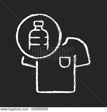 Clothes Made From Plastic Bottles Chalk White Icon On Dark Background. Sustainable Clothing Item. Su