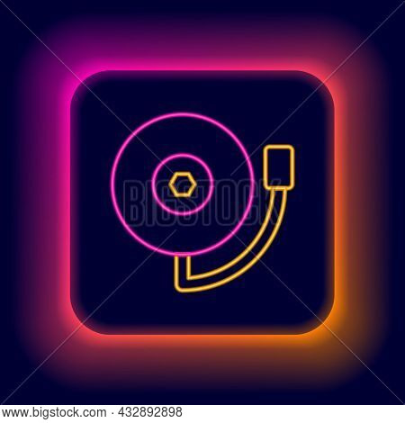Glowing Neon Line Ringing Alarm Bell Icon Isolated On Black Background. Fire Alarm System. Service B