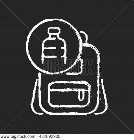 Backpack Made From Plastic Chalk White Icon On Dark Background. Sustainable Bags. Repurposing Discar