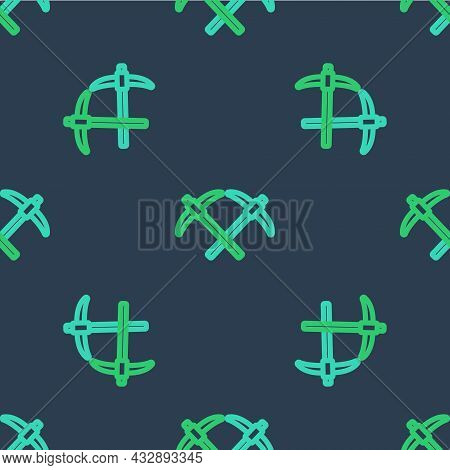 Line Pickaxe Icon Isolated Seamless Pattern On Blue Background. Vector