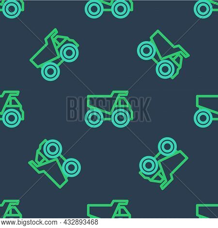 Line Mining Dump Truck Icon Isolated Seamless Pattern On Blue Background. Vector