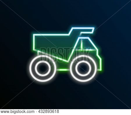 Glowing Neon Line Mining Dump Truck Icon Isolated On Black Background. Colorful Outline Concept. Vec