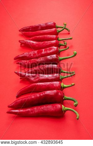 Fresh red chilli peppers lay in a row isolated on red background. Top view.
