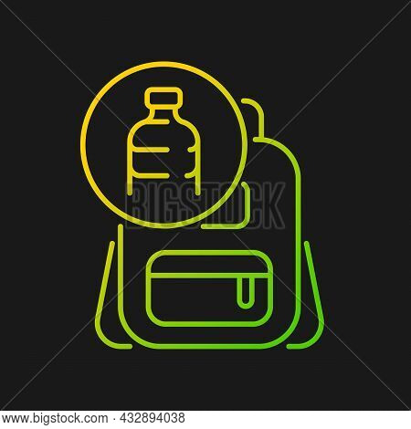 Backpack Made From Plastic Gradient Vector Icon For Dark Theme. Repurposing Discarded Water Bottles.