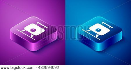Isometric Metal Tank With Grape Juice As Alcoholic Fermentation Icon Isolated On Blue And Purple Bac