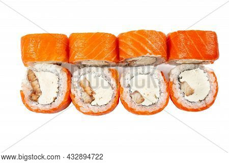 Set Japanese Fish Sushi Rolls. Sushi Rolls With Salmon, Smocked Eel And Cream Cheese Isolated On Whi