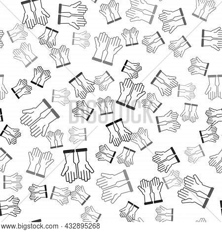 Black Rubber Gloves Icon Isolated Seamless Pattern On White Background. Latex Hand Protection Sign.