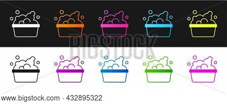 Set Plastic Basin With Soap Suds Icon Isolated On Black And White Background. Bowl With Water. Washi