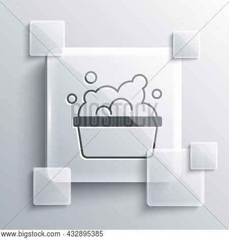 Grey Plastic Basin With Soap Suds Icon Isolated On Grey Background. Bowl With Water. Washing Clothes