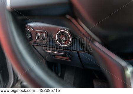 Button Engine Start And Engine Stop. Car Inside. Ignition Remote Starter. Modern Car Interior Detail
