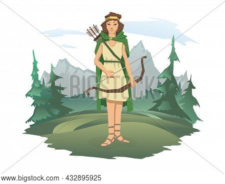 A Woman With A Bow And Arrow Standing Against The Background Of A Forest And A Mountain Landscape. H