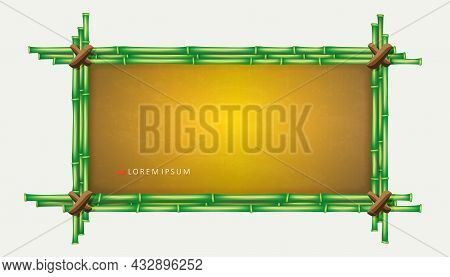 Linked Rectangular Frame Made Of Green Bamboo, Design Element.