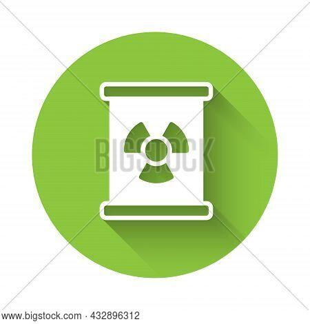White Radioactive Waste In Barrel Icon Isolated With Long Shadow Background. Toxic Refuse Keg. Radio