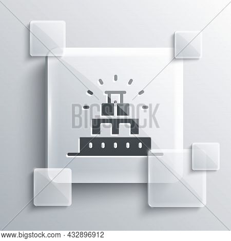 Grey Chichen Itza In Mayan Icon Isolated On Grey Background. Ancient Mayan Pyramid. Famous Monument