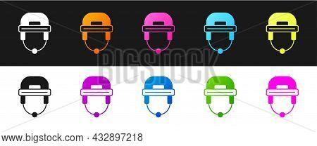 Set Hockey Helmet Icon Isolated On Black And White Background. Vector