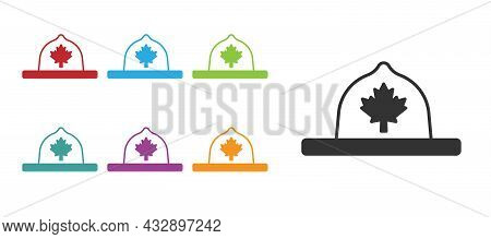 Black Canadian Ranger Hat Uniform Icon Isolated On White Background. Set Icons Colorful. Vector