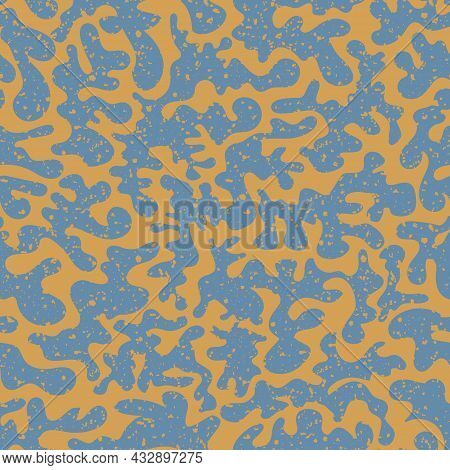 Vermicular Vector Seamless Pattern Background. Historical Style Backdrop In Orange Blue With Abstrac