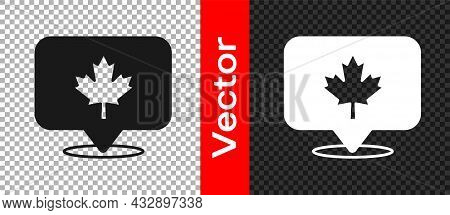 Black Canadian Maple Leaf Icon Isolated On Transparent Background. Canada Symbol Maple Leaf. Vector