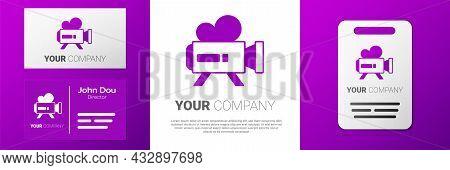 Logotype Retro Cinema Camera Icon Isolated On White Background. Video Camera. Movie Sign. Film Proje