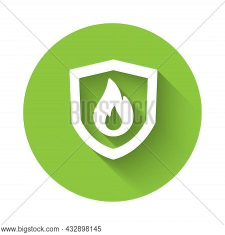 White Fire Protection Shield Icon Isolated With Long Shadow Background. Insurance Concept. Security,