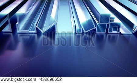 Glowing Metal Profile And Reinforcing Steel - Cg Industrial 3d Illustration