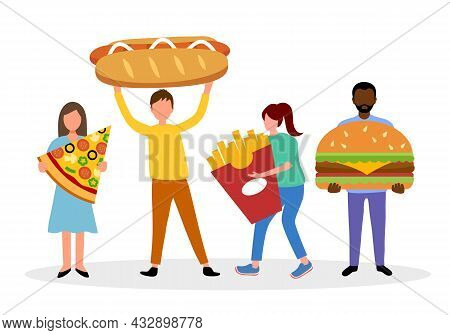 Unhealthy Fast Food Concept Vector Illustration. People Holding Pizza, Hamburger, Hotdog And French