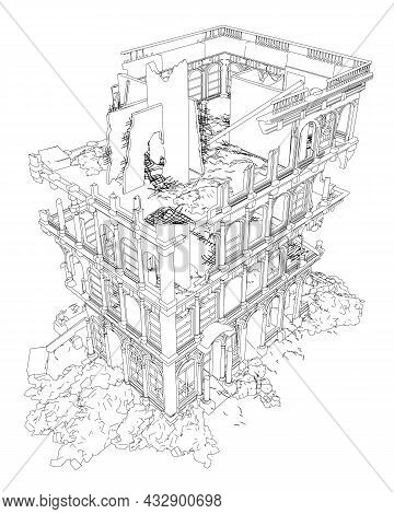Contour Of A Destroyed Building From Black Lines Isolated On A White Background. Isometric View. Vec
